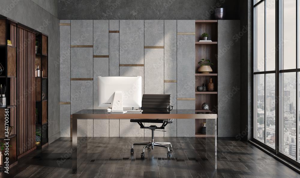 Fototapeta Modern home office interior in loft, industrial style, 3d render