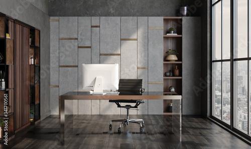 Obraz Modern home office interior in loft, industrial style, 3d render - fototapety do salonu