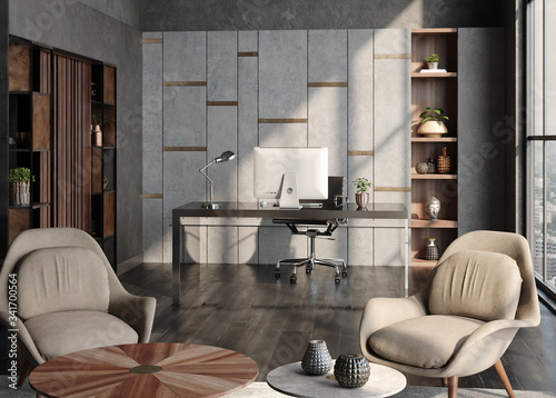 Modern home office interior in loft, industrial style, 3d render