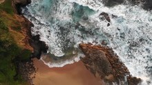 Overview Of Water Hitting Rocks In Thompson's Bay