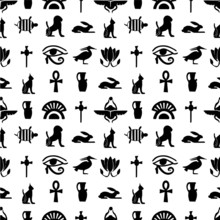 Hieroglyph And Egyptian Symbol...