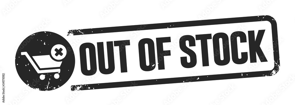 Fototapeta out of stock banner - black buffer - white background vector illustration