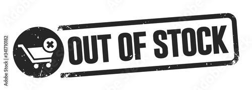 Fototapeta out of stock banner - black buffer - white background vector illustration obraz