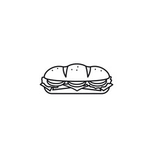 Hoagie Or Sub With Tomato, Lettuce, Ham, Cheese Isolated Vector Line Icon