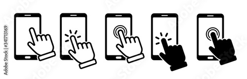 Photo Hand touch screen smartphone icon