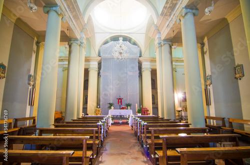 church interior, altar, ready for mass Canvas Print