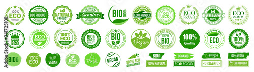 Fototapeta Organic natural bio labels set icon, healthy foods badges, fresh eco vegetarian food – stock vector obraz