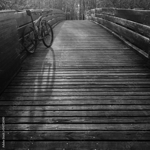 Old Bicycle On Footbridge Wallpaper Mural