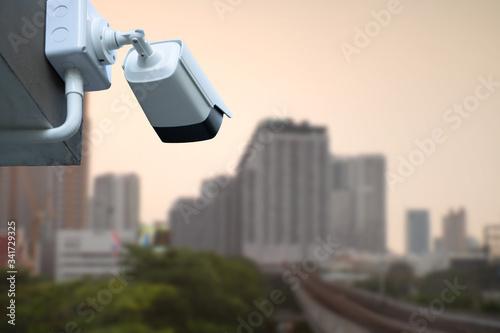 CCTV Camera system operating over capital city Canvas Print