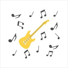 Musical Guitar Icon On A White Background. Vector