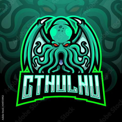 Fotografie, Tablou Cthulhu esport logo mascot design.