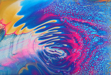 Art Photography Of Abstract Marbleized Effect Background. Pink, Blue, Gold And White Creative Colors. Beautiful Paint