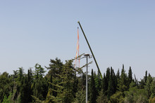 Crane In Preparation For Israeli Independence Day - April 2020, In The National Park Near Military Cemetery, On Mount Herzl In Jerusalem Israel,