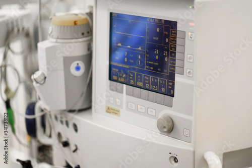 The artificial lung ventilation apparatus in the operating room Canvas Print