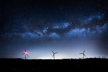 Wind Turbines In The Night