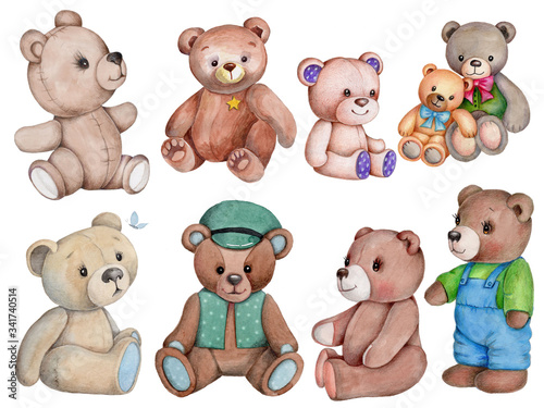 Set of watercolor illustrations teddy bears. hand drawn, isolated. #341740514