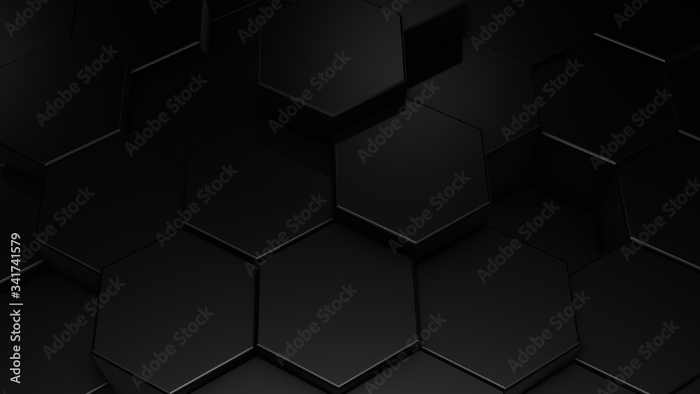 3D rendering of abstract hexagonal geometric black surfaces in virtual space