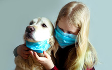Funny Photo - Quarantined Due To An Epidemic Of Coronavirus. Portrait Of A Masked Dog And Girl On A Gray Background.
