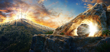 High Resolution. Easter Sunday Concept: Empty Tomb Stone With Cross On Meadow Sunrise Background. 3d Rendering