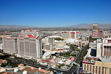 Caesars Palace And The Strip Seen From Eiffel Tower Replica At Paris Hotel And Casino  Las Vegas Nevada  USA