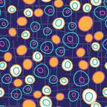 Circle Circus, Bright Fun Dots In Circles On A Gridded Dark Blue Purple Background Seamless Repeat Vector Pattern Surface Design