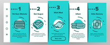 Blanket And Towel Onboarding Icons Set Vector. Electronic Blanket With Heating, Fabric Bathroom Accessory, Twisted Plaid Illustrations