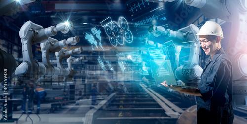 Genius Asian engineer smart factory machine IOT internet of thing digital techno Poster Mural XXL