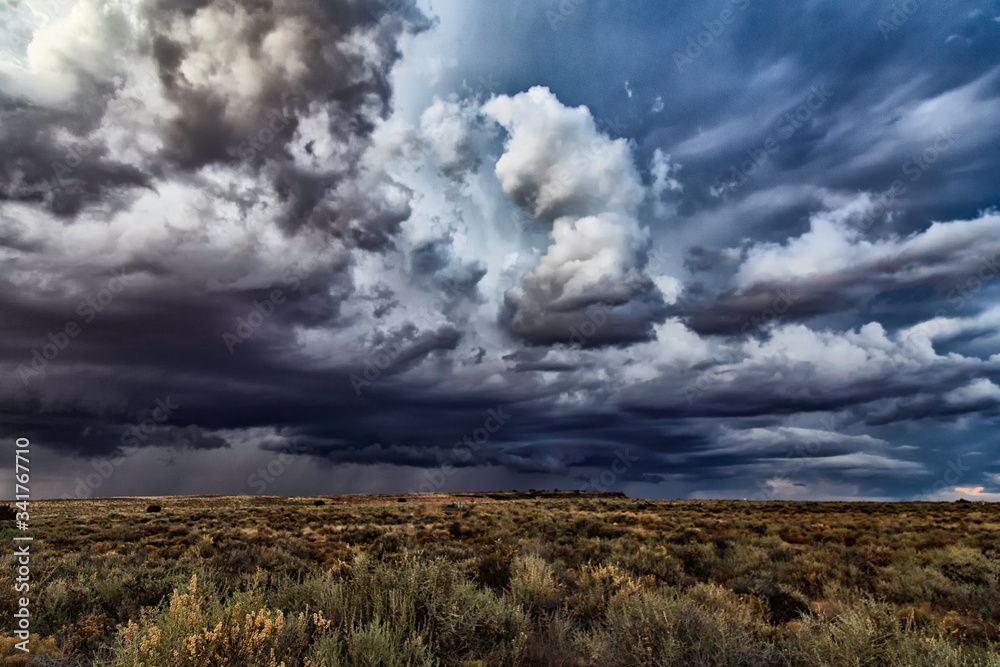 Obraz Storm Clouds Over Field fototapeta, plakat