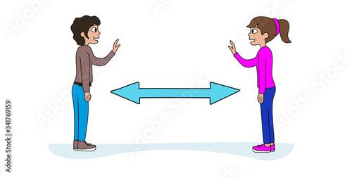 Obraz gestes barrières coronavirus distanciation sociale - fototapety do salonu