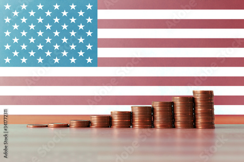 Stock photo of the concept of economic recovery in the USA with an ascending sta Canvas Print