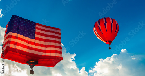 Morning Ascension For American Flag Balloon, Special Shapes Rodeo, Albuquerque I Canvas Print