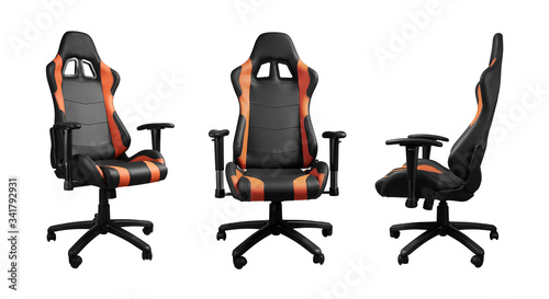 All angels view of racing car seat design office chair isolated on white backgro Fototapet