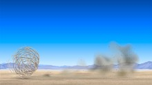 Tumbleweed Rolls Through The Desert And Dust Flies, Arid Landscape