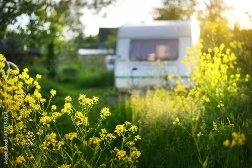 Caravan trailer parked in a green summer garden near the country houses on a sunny day Fotobehang