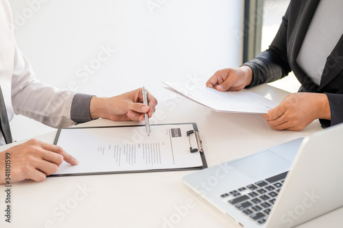 Office executives are interviewing job applicants in the meeting room Canvas Print