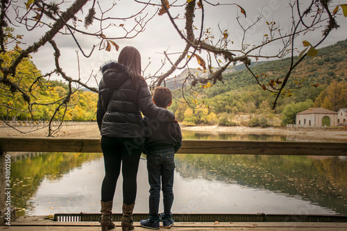 Mother and son before a separation Canvas Print