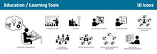 Education And Learning Icons, Set Of 10, From Traditional Education To E-learning Tools