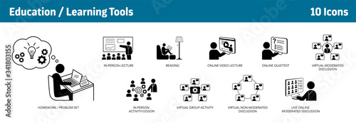 Photo Education and Learning Icons, set of 10, from traditional education to e-learnin