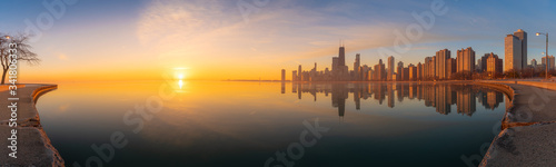 Fotografija Panoramic Chicago Skyline Cityscape at night  and  blue sky with cloud, Chicago,