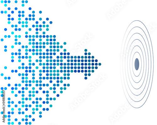 Obraz na płótnie abstract background with blue dotted arrow and aim