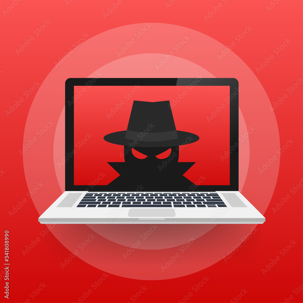 Fototapeta Spyware, Internet technology. Stop sign, Web icon. Danger symbol. Concept hacking computer. Vector illustration