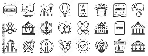 Photo Set of Carousel, Roller coaster and Circus icons