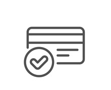 Approved Credit Card Line Icon...