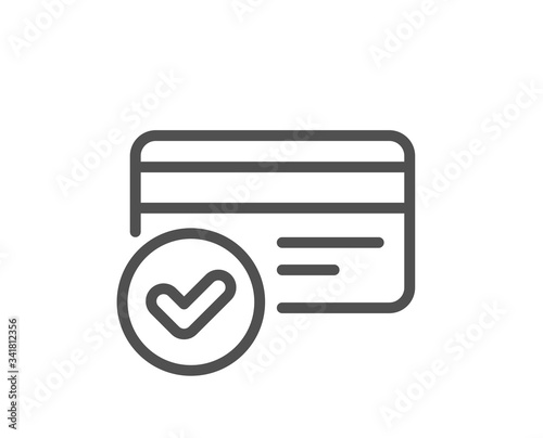 Obraz Approved credit card line icon. Accepted payment methods sign. Verification symbol. Quality design element. Editable stroke. Linear style payment methods icon. Vector - fototapety do salonu