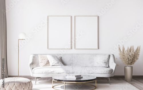 Fototapeta Frame mockup in stylish white modern living room interior, home decor obraz