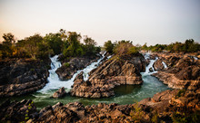 River Flowing From Si Phi Falls Or Somphamit Also Knows As Liphi Waterfalls Or Don Khone On The Island Of Don Det, Four Thousand Islands, Si Phan Don, Laos, Southeast Asia