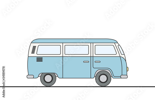 Photo Vector illustration of a retro travel van vector illustration eps 10
