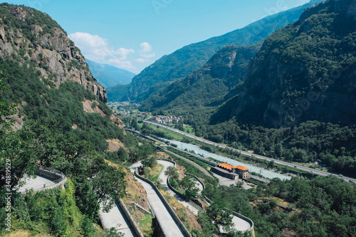 Beautiful landscape in the Aosta Valley mountainous region in northwestern Italy Canvas Print