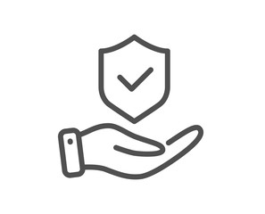 Insurance hand line icon. Risk coverage sign. Policyholder protection symbol. Quality design element. Editable stroke. Linear style insurance hand icon. Vector