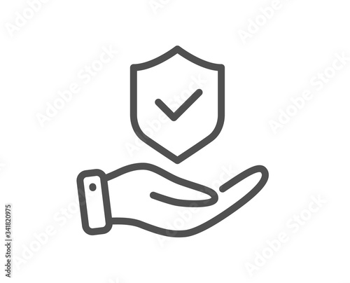 Fototapeta Insurance hand line icon. Risk coverage sign. Policyholder protection symbol. Quality design element. Editable stroke. Linear style insurance hand icon. Vector obraz
